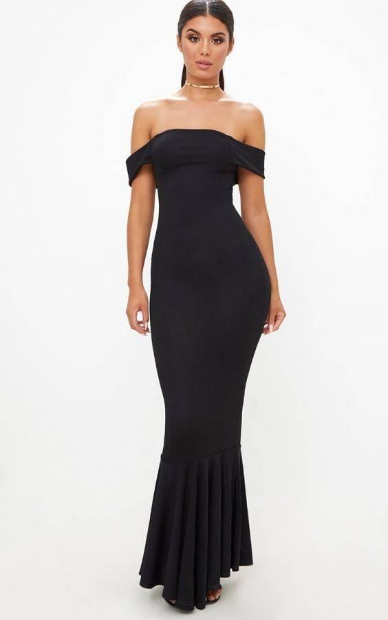 فستان اسود ماكسي ماركة بريتي-6