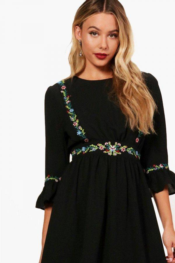 Beaded floral ruffle dress