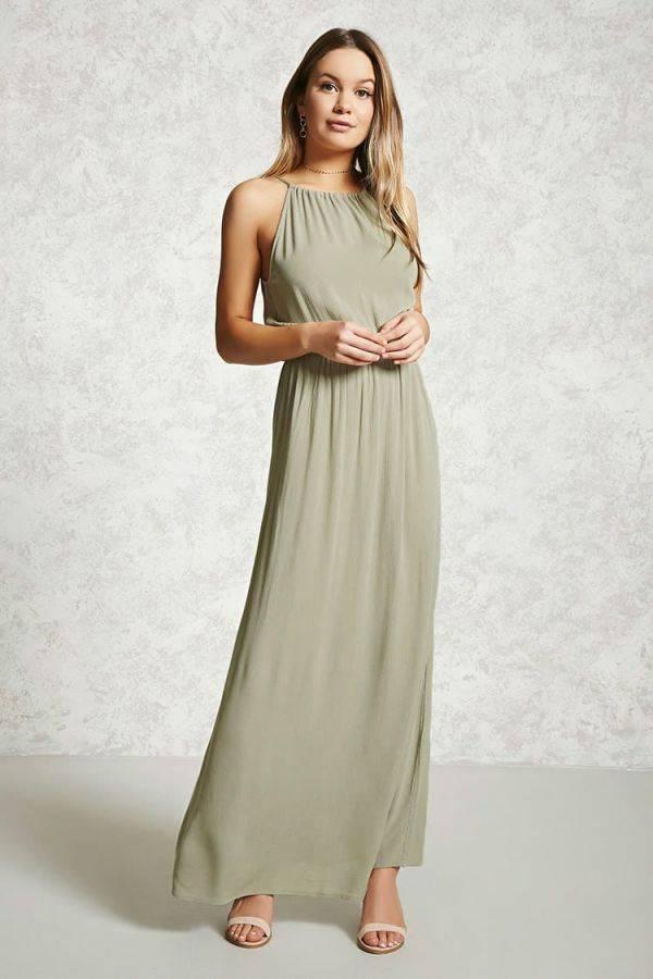 فستان ماكسي انيق زيتوني من ماركة فورايفر21