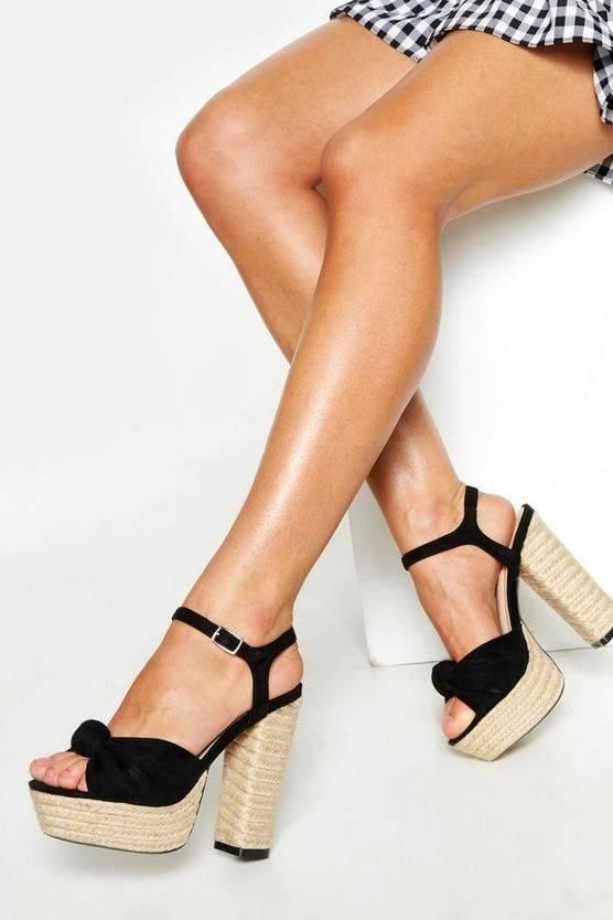 Modern synthetic suede heel sandal
