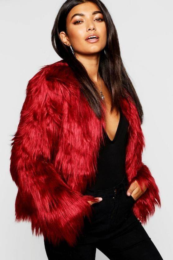 Coat of red fur coat