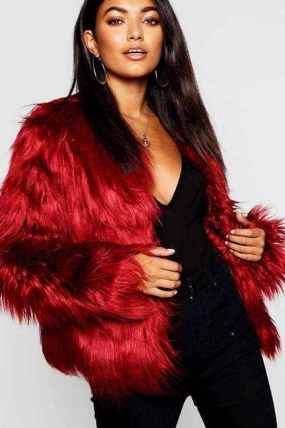 Coat of red fur coat