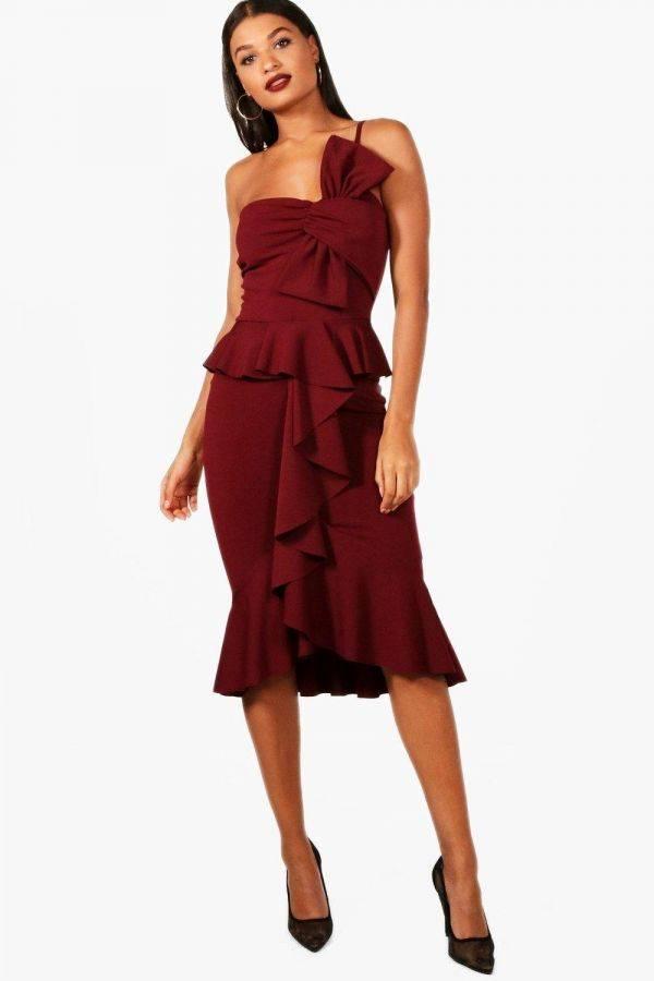 فستان بفيونكة من الامام من ماركة بوهو