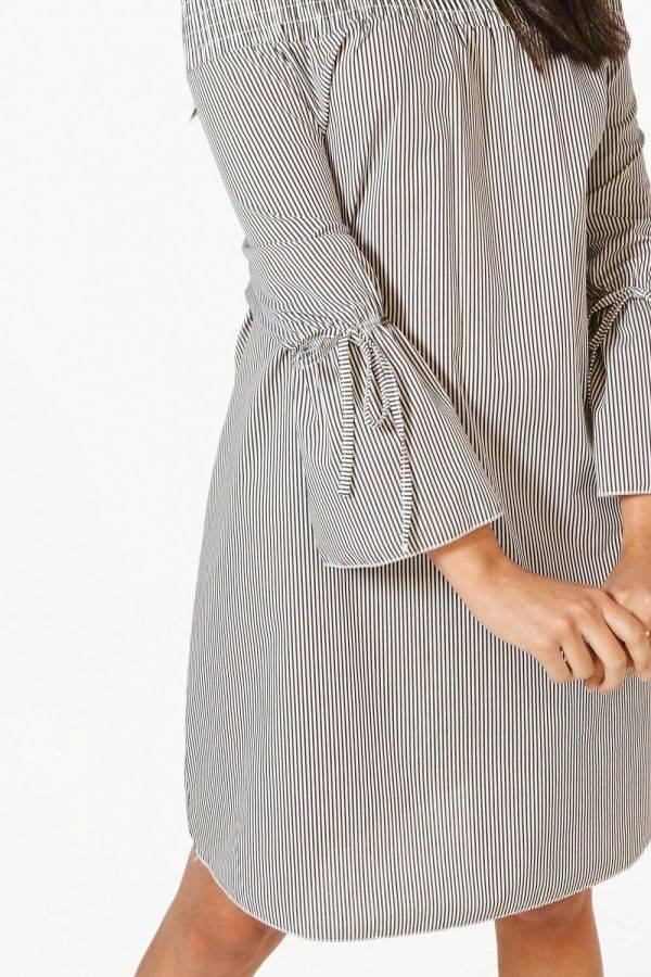 فستان مخطط اوف شولدر -3