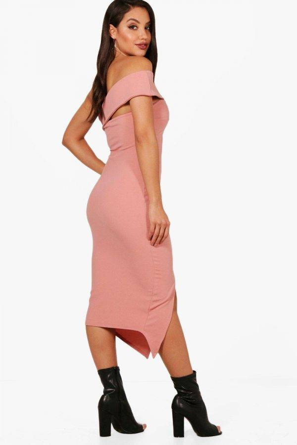 Midi Kiley Dress with Red Shoulder Belt