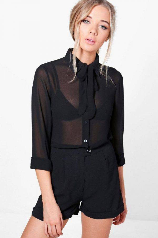 Nicole Black Shirt with Bauhaus Brand Necktie