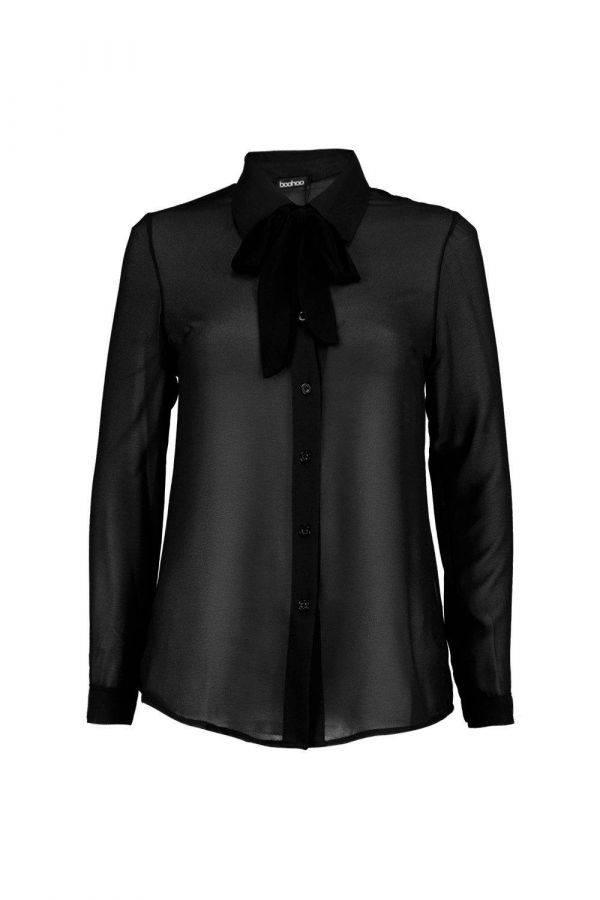 قميص اسود نيكول بربطة عنق ماركة بوهو