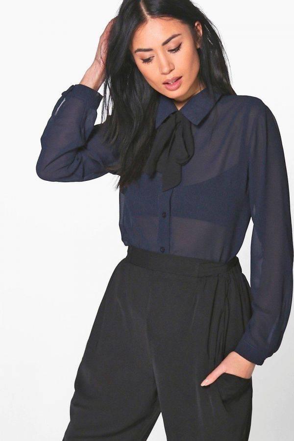 Nicole Black Shirt with Bauhaus Brand Necktie