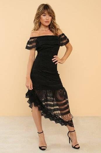 Black dress nude shoulder