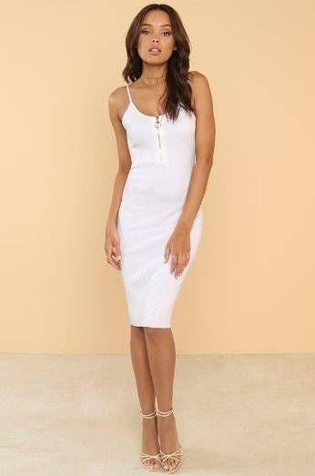Dress short silk white