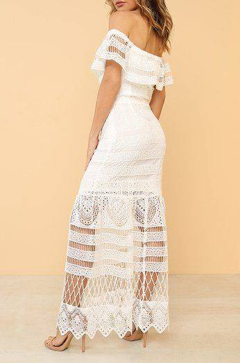 White dress nude shoulder