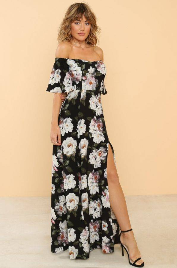 Black Flowered Dress