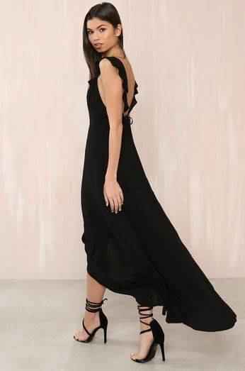 Black Satin Stroll Dress
