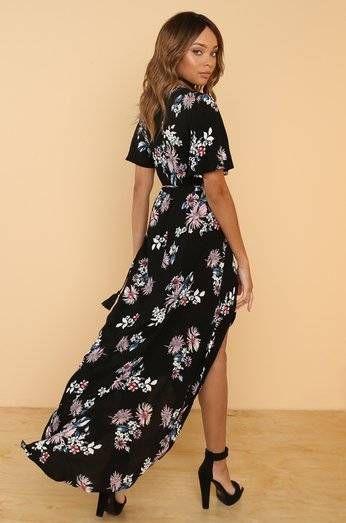 Dress Picking Petals Black Flowered