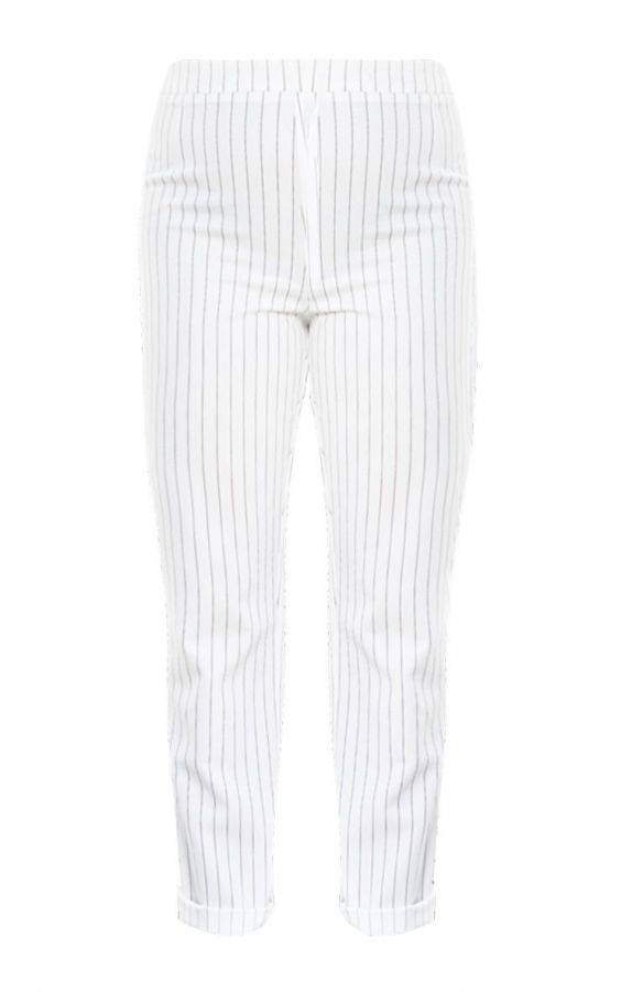 Striped white trousers