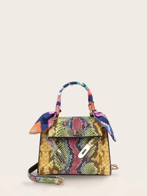 Colored crocodile leather bag