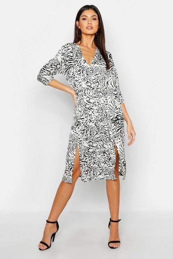 Dress Leopard White Midi View Attractive