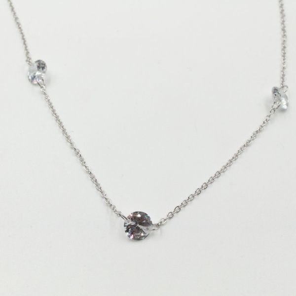 A necklace decorated with silver crystal
