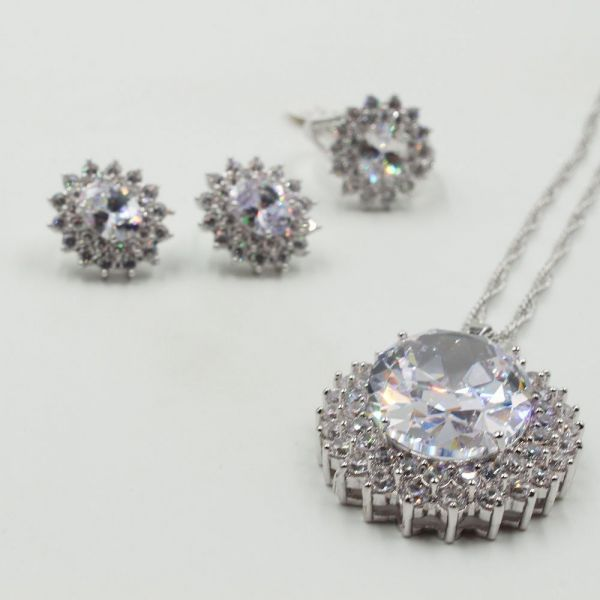 Cubic Zirconia Set 3 pieces Silver