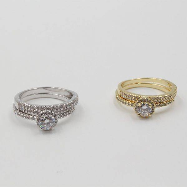 Twins Rings with Zircon Solitaire