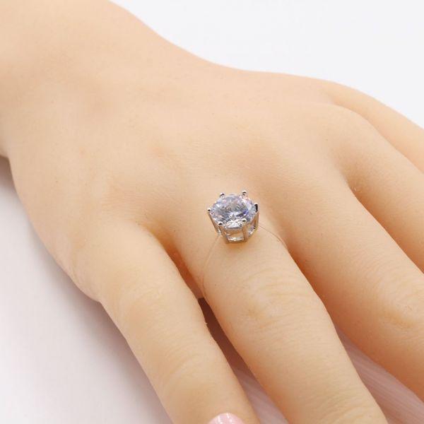 خاتم شفاف مدور زركون