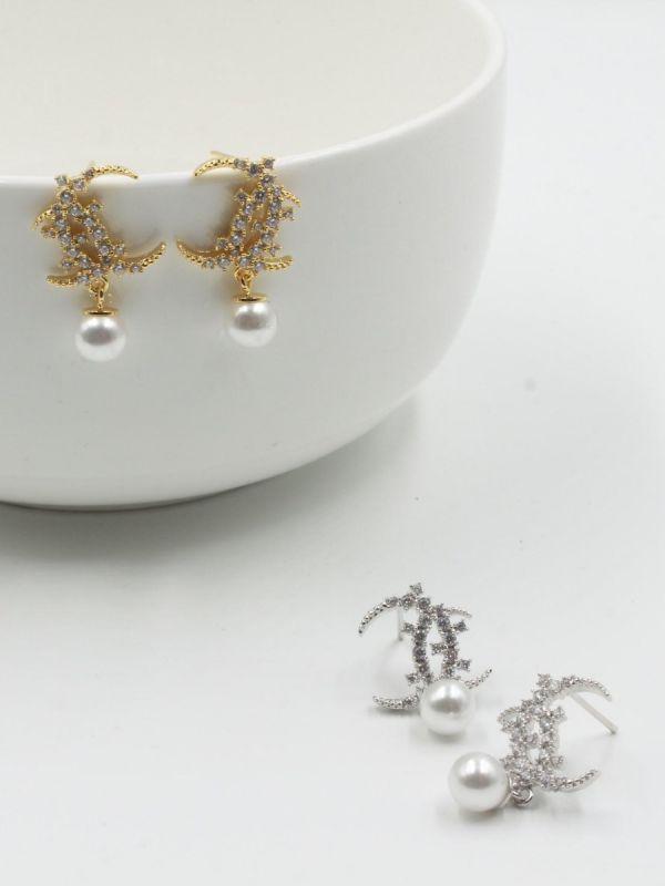Chanel Zircon with Pearl Earring