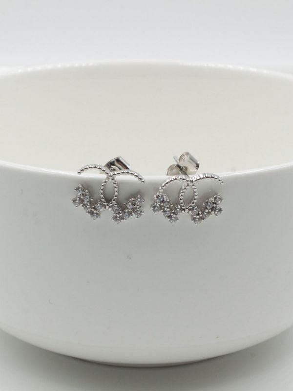 Chanel Earring Half Cubic Zirconia