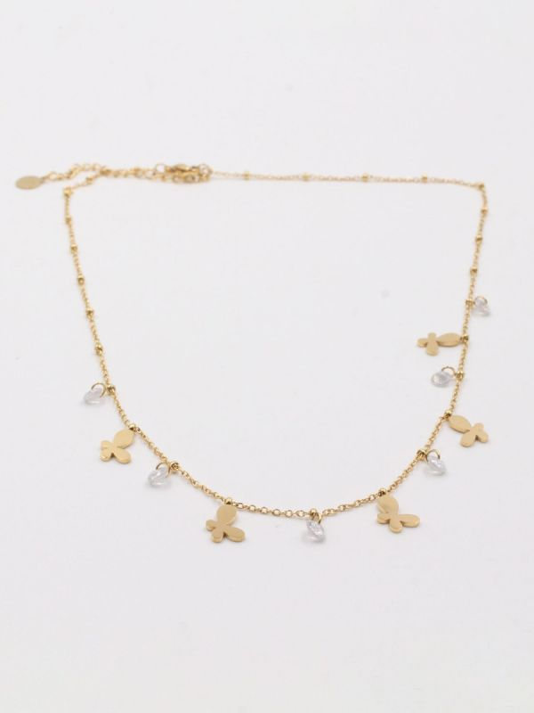Butterfly chain necklace and zircon