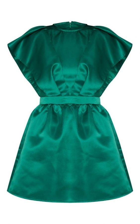 Short green satin dress