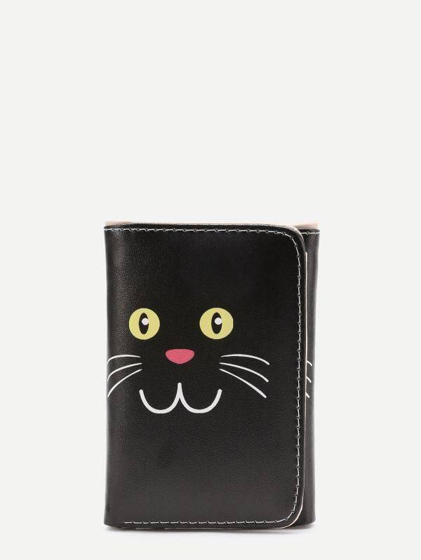 محفظة نقود جلد صناعي طباعة القطة الصغيره-3