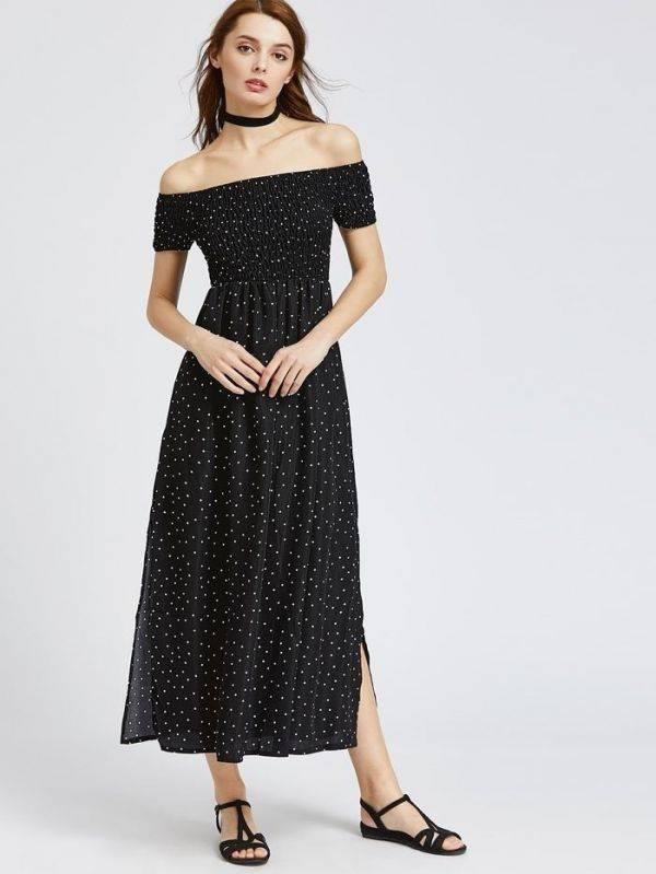 فستان اوف شولدر طويل اسود