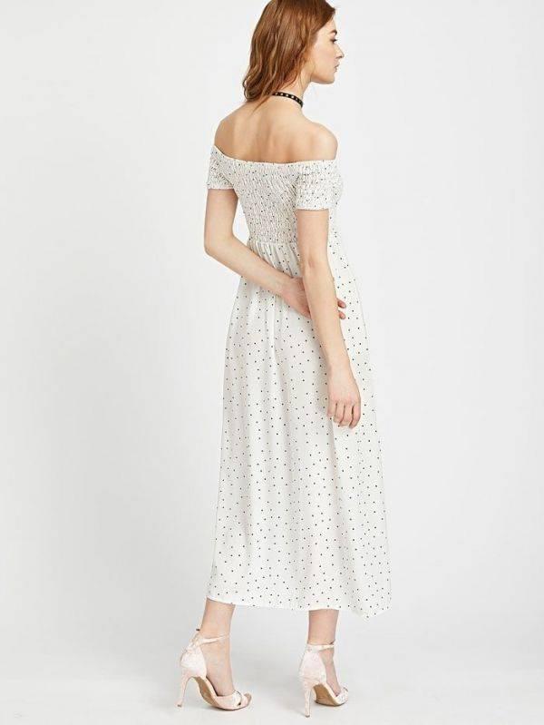 فستان اوف شولدر طويل اسود-4