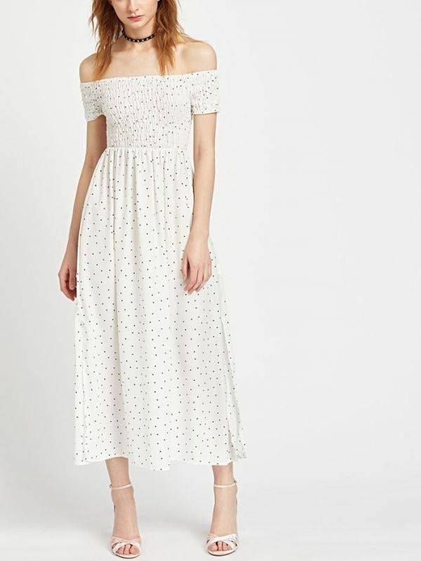 فستان اوف شولدر طويل اسود-6