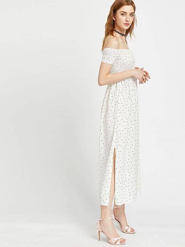 فستان اوف شولدر طويل اسود-5