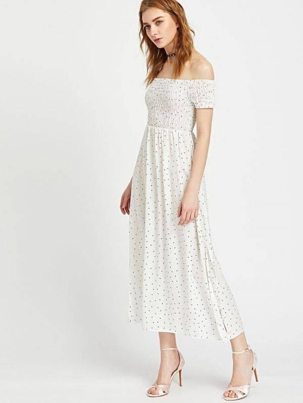 فستان اوف شولدر طويل اسود-7
