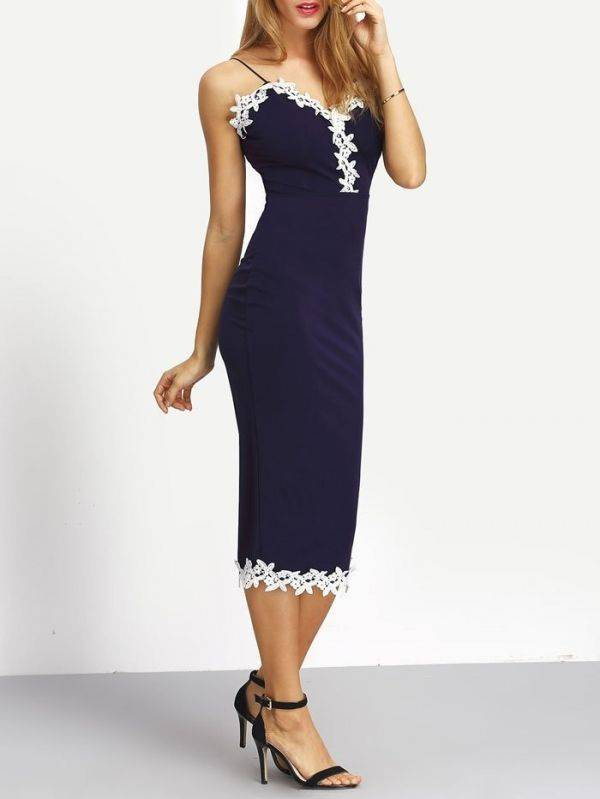 Long dress Maxi in navy blue