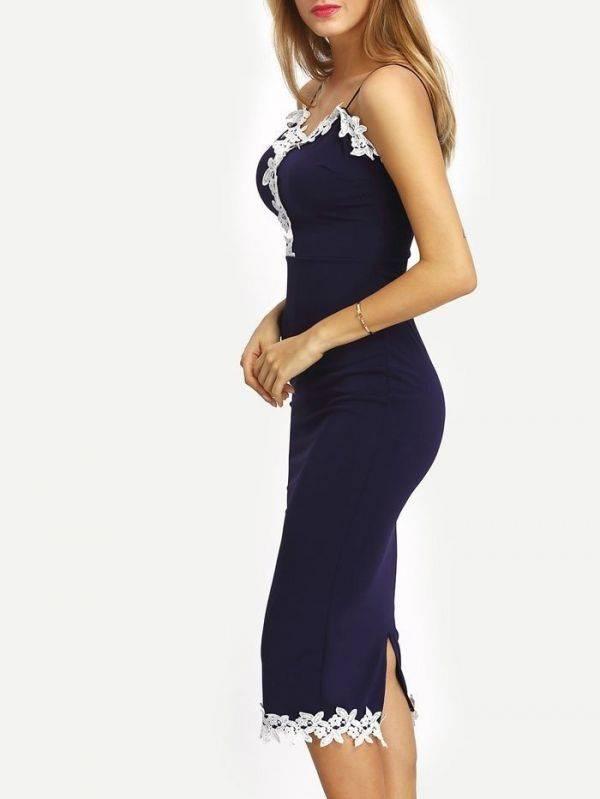 Long dress Maxi in navy blue