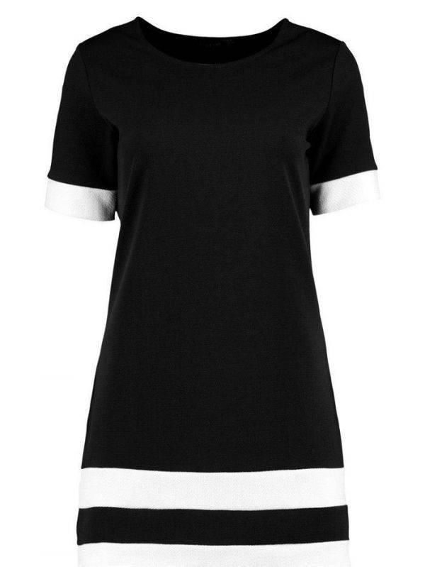 Short Dress Black and White Short Sleeve
