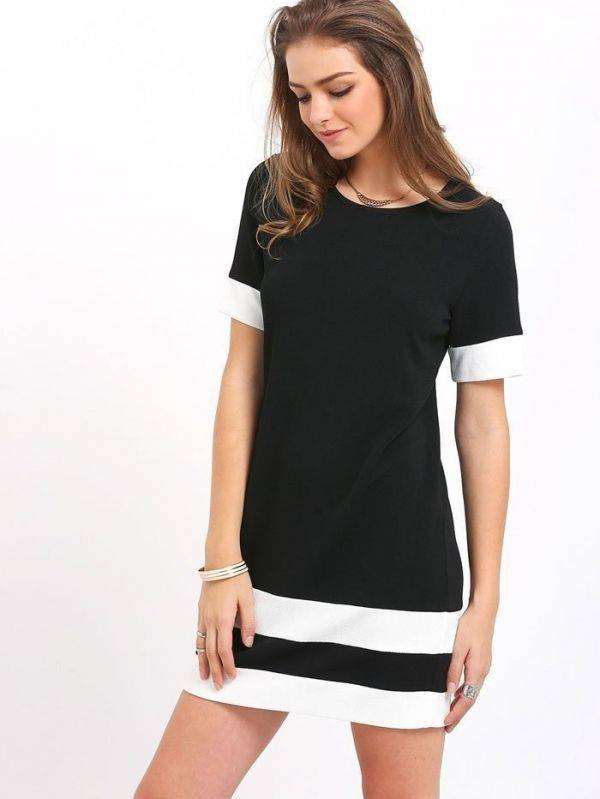 Short Dress Black and White Short Sleeve