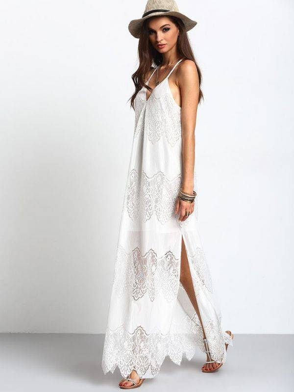 Maxi Long White Dress V