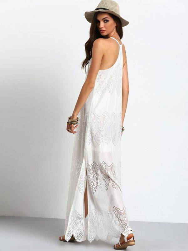 Maxi Long White Dress V