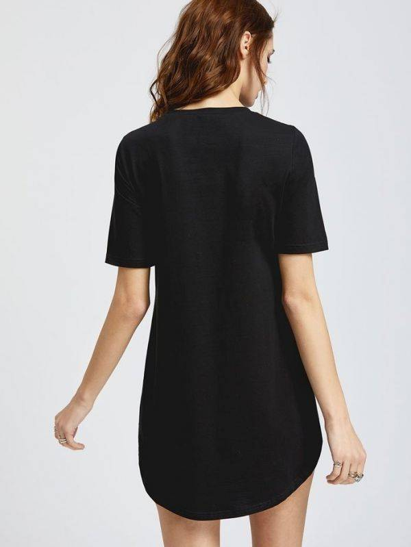 A long black T-shirt with a breastband