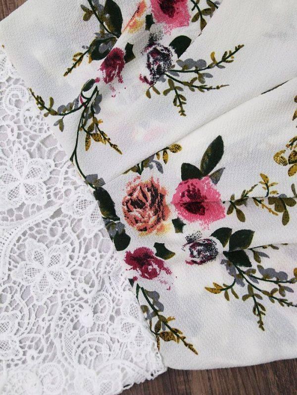 فستان قصير دانتيل عاري اليدين بزهور ملونه-2