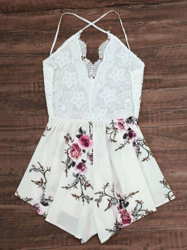 فستان قصير دانتيل عاري اليدين بزهور ملونه-4