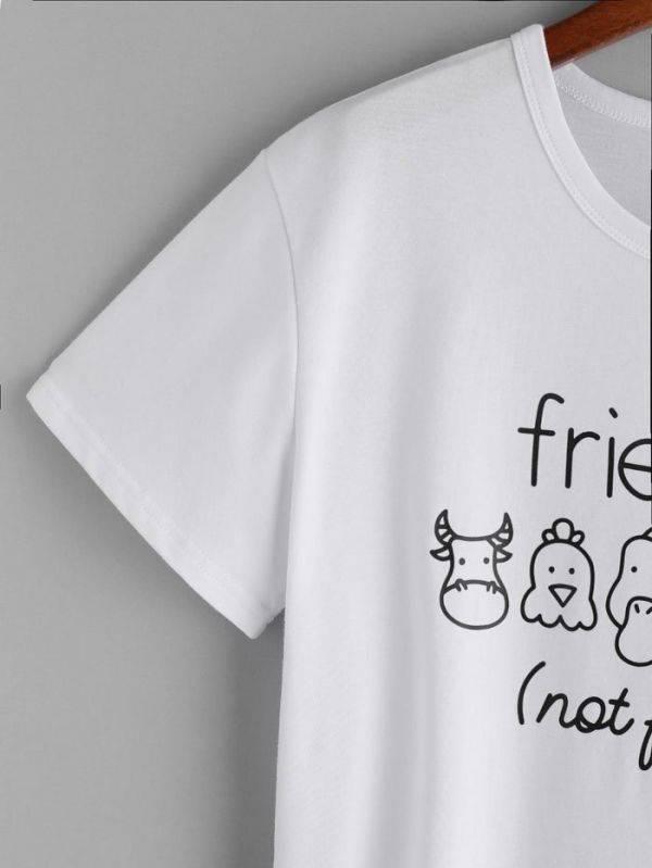 T shirt short sleeve white friends
