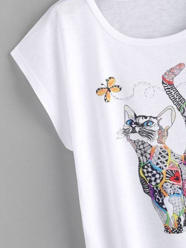 T-Shirt Short Sleeve White Cat Color