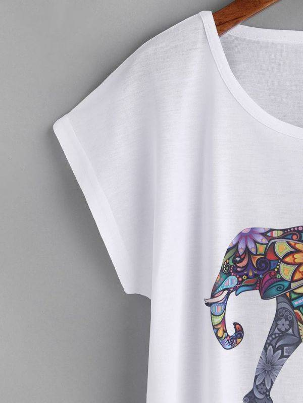 T-Shirt Short Sleeve White Colorful Elephant