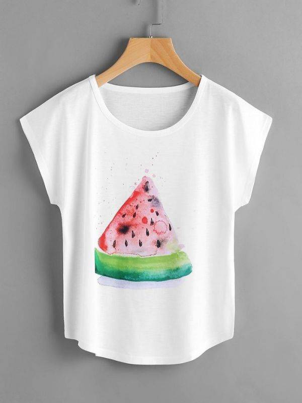 T-Shirt Short Sleeve White Watermelon