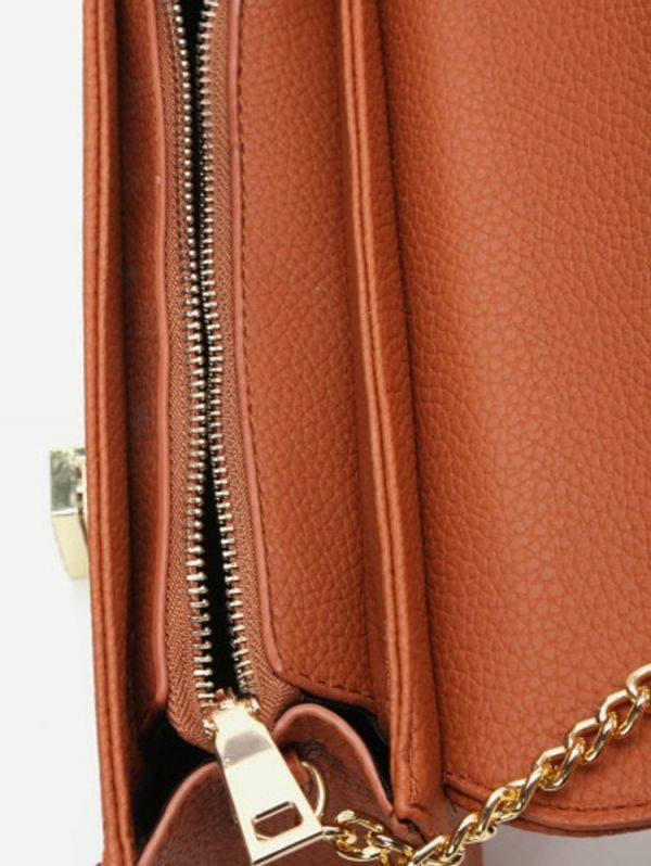 Leather shoulder bag with chain