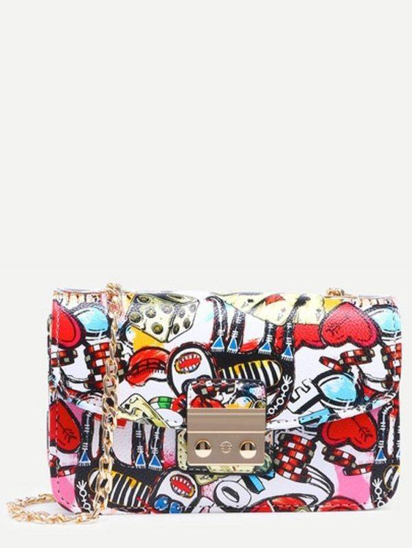 Colorful bag with print and lock